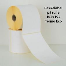 Pakkelabel 102x192 - 25,4mm kerne - Termo Eco - 350 fragtlabels/rulle