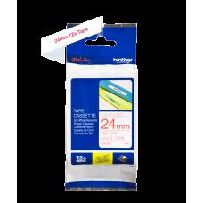 Brother TZe252 tape – rødt print på hvid tape - 24 mm x 8 meter - Original TZe-252 tape