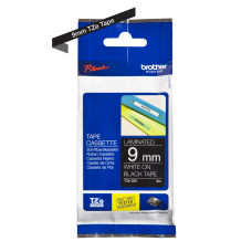 Brother TZe325 tape – hvidt print på sort tape - 9 mm x 8 meter - Original TZe-325 tape