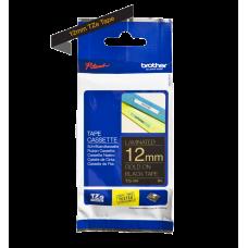 Brother TZe334 tape – guld print på sort tape - 12 mm x 8 meter - Original TZe-334 tape
