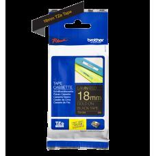 Brother TZe344 tape – guld print på sort tape - 18 mm x 8 meter - Original TZe-344 tape