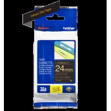 Brother TZe354 tape – guld print på sort tape - 24 mm x 8 meter - Original TZe-354 tape