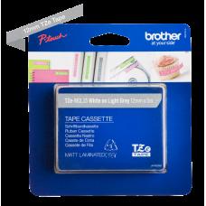 Brother TZeMQL35 tape – Hvidt print på mat grå tape - 12 mm x 5 meter - Original TZe-MQL35 tape