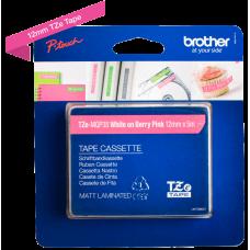 Brother TZeMQP35 tape – Hvidt print på mat pink tape - 12 mm x 5 meter - Original TZe-MQP35 tape