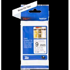 Brother TZeN221 tape – sort print på hvid tape - 9 mm x 8 meter - Original TZe-N221 tape
